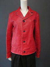 PRADA red leather jacket NEW with TAG has a worn aspect size 48
