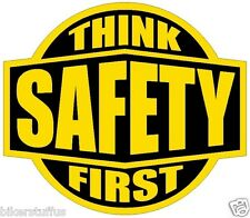 THINK SAFETY FIRST HARD HAT STICKER YELLOW ON BLACK