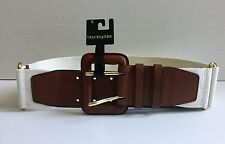 COLE HAAN Bloomingdales Cream Woven Cognac Brown Leather Women's Belt NWT $98 S