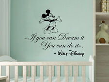 Mickey Mouse Wall Decals Quote If You Can Dream It You Can Do It Bedroom NV75