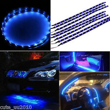 8 Pcs Blue Super Bright 15LED 30CM Car Motorcycle Grill Flexible Light Strip New