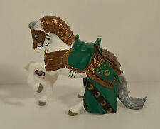 """2003 Knight's Horse 4"""" White Green Gold PVC Action Figure Papo"""
