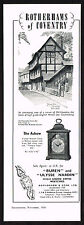 1950's Vintage 1956 Rotherhams Coventry Ashow Bracket Clock - Paper Print AD