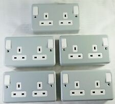 Pack of 5 MK 13A DP 2 Gang Steel Switched Power Socket 13A Surface Mount