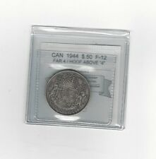 **1944 F4 Hoof Above 4**Coin Mart Graded Canadian Silver 50 Cent, **F-12**