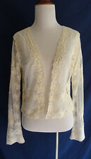 Vtg. Lace Butterfly Flower Embroidered Cardigan Top Boho Festival Gypsy Shirt
