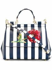 NWT DOLCE&GABBANA MEDIUM SICILY BAG IN PRINTED DAUPHINE LEATHER WITH EMBROIDERY