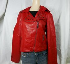 Women XL JOUJOU 100 Vegan Leather Soft Red Lined Motorcycle Jacket NWT