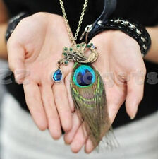 Charm Vintage Antique Bronze Peacock Feather sweater Jewelry Pendant Necklace