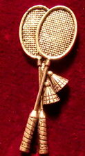 Quality  Pewter Badminton Raquets Shuttlecock  Brooch Pin  Signed