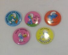 Smurf Lot 5 - 5 Pinback Button Pin - Peyo 1980 & 1982 - Vintage
