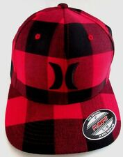 MENS HURLEY CHECKED HAT PLAID FLEX FIT FITTED CAP SIZE S/M