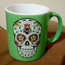 Sugar Skull Dia De Los Muertos 18 oz Mug Cup Green Mexican Art Formation Coffee