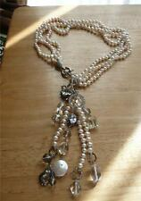 STYLISH WHITE FRESHWATER PEARL & GEMSTONE 925 STERLING SILVER TASSLE NECKLACE