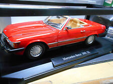 MERCEDES 300sl 300 SL r107 1985 - 1989 US Stati Uniti re Rosso ROADSTER NOREV spacciatori 1:18