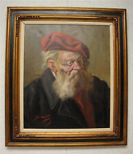 """GUSSICH JENO """"OLD MAN IN A RED BARET"""" -Signed Framed Original Oil Painting 28x32"""