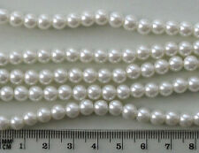 100 x 6mm round white glass pearls, for jewellery making and crafts