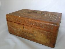 Vintage Folk Asian Oriental Hand Carved Wooden Box Keepsake Secret