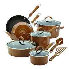 Rachel Ray Cookware Set Nonstick Brown Pots Pans Lids Non Stick Rachael NEW