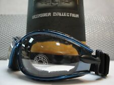 MOTORCYCLE BIKER SPORT Day Night RIDING PADDED CLEAR LENS GLASSES GOGGLES Blue