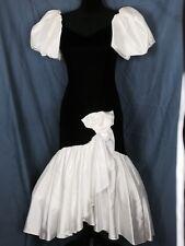 Vtg 80s Party Prom Bridesmaid Dress Mermaid Black Velvet White Satin 10