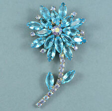 Vintage Flower Brooch Large 1960s Blue Crystal Silvertone Retro Bridal Jewellery