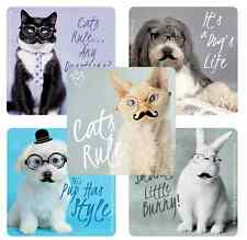 "30 Cute Animals with Glasses/Mustache Stickers 2.5"" x 2.5"" each, Party Favors"