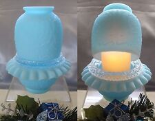 "FENTON GLASS""VINTAGE~70s""LRG""BLUE SATIN""PERSIAN MEDALLION""FAIRY LAMP+A LED LIGHT"