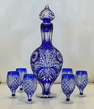 Cased Crystal DECANTER & 6 GLASSES h53cm BLUE Cut to clear overlay RUSSIA New