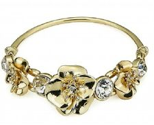 Gold Stretchy Crystal Flower Bangle Bracelet