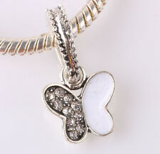 2P 925 Silver Butterfly Charm Beads Fit European Bracelet Pendant Chain A268