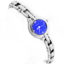 W434- FOSSIL LADIES WATCH ES-9105 QUARTZ BATTERY BLUE DIAL STAINLESS STEEL