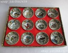ancient China glaze porcelain delicate small bowl 12 zodiac signs. Tea set