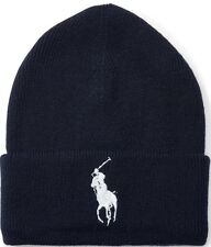 ORIGINAL POLO RALPH LAUREN BIG PONY CUFFED BEANIE HAT. NAVY BLUE, ONE SIZE, NEW
