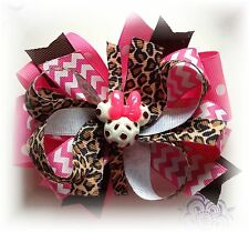 LOT (1) 5 TO 5 1/2 INCH MINNIE MOUSE LEOPARD BOUTIQUE HAIR BOW HOT PINK