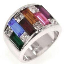 Russian Gems Platinum set Multi Color Size 8 Blue Luster Women's Ring New