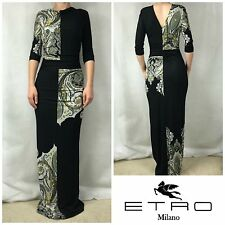 NEW $1,450 ETRO BLACK PRINTED  3/4 Sleeve Made In Italy DRESS Sz 42