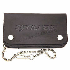 Syncros '97 Large Black Leather Biker - Chain Wallet Retro Vintage NOS