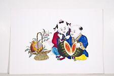 Dessin encre de chine et aquarelle XX° Couple de Chinois admirant une pastèque