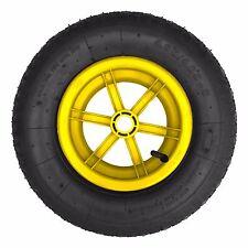 "YELLOW SPOKED 16"" Pneumatic Wheelbarrow Wheel Tyre 4.80 / 4.00 - 8 BENT VALVE"