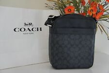 NWT Coach Men's Flight Crossbody Bag in Signature PVC F54788 SV/Charcoal/Black