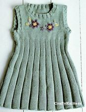 Knitting Pattern Girls Embroidered Pleated Dress Pinafore  1 - 3 Years