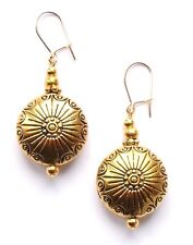GOLD PATTERNED ROUND DROP EARRINGS NEW EXCELLENT QUALITY WITH ORGANZA GIFT BAG