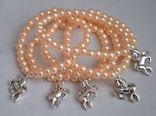 5 Girl Kawaii Unicorn Horse Charm Dusty Pink Beads Bracelets Party Bag Fillers