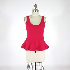 M - GANNI Anthropologie Textured Fuschia Pink Peplum Waist Tank Top 0607JD