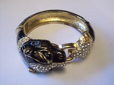 3CM AT WIDEST POINT/BLACK ENAMEL/DIAMANTE/PANTHER/BANGLE/HINGED