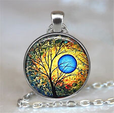 1pcs Vintage Tree of Life Cabochon Tibetan silver Glass Chain Pendant Necklace/