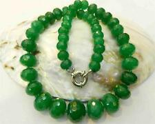 """10-18mm Natural Emerald Faceted Gems Roundel Beads Necklace 18.5"""""""
