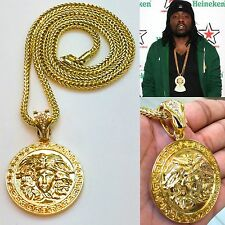 "NEW MENS RAPPERS ROUND MEDALLION MEDUSA PENDANT GOLD FRANCO CHAIN 36"" NECKLACE"