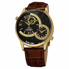 New Men's August Steiner AS8010YGBR Quartz Dual Time Brown Leather Strap Watch
